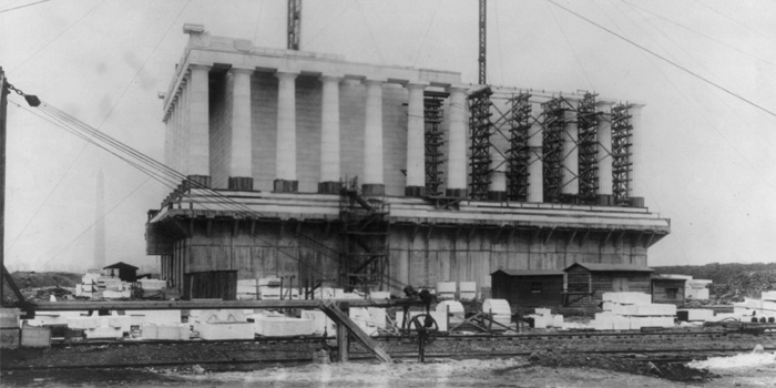 Lincoln Memorial being constructed in 1916.