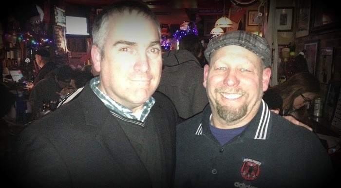 Stephen Jackson (left), lead singer of The Pietasters and Tony T. (right), proprietor of The Pug