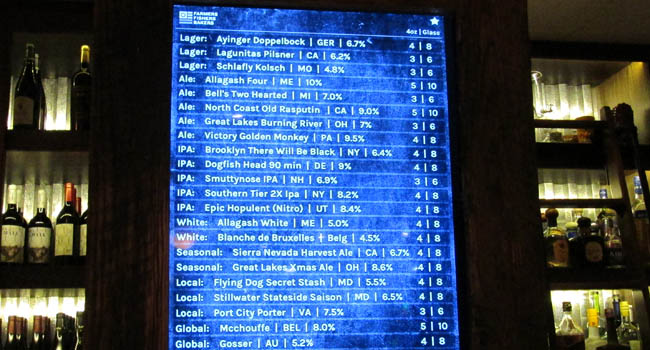 The Beer Board with over 20 drafts.