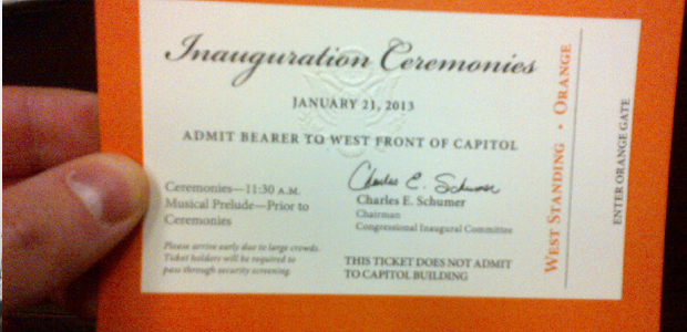 2013 Inauguration facts - Ticket