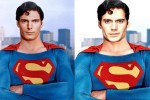 The new Superman (Henry Cavill, on right) and the old one (Christopher Reeves, circa 1978, on left).