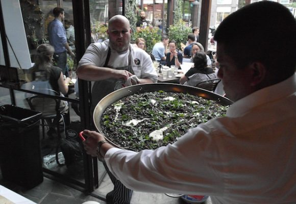 Barcelona 14th Street Chef Adam Greenberg making another batch of squid ink fideos (Photo credit: Lisa Femia)