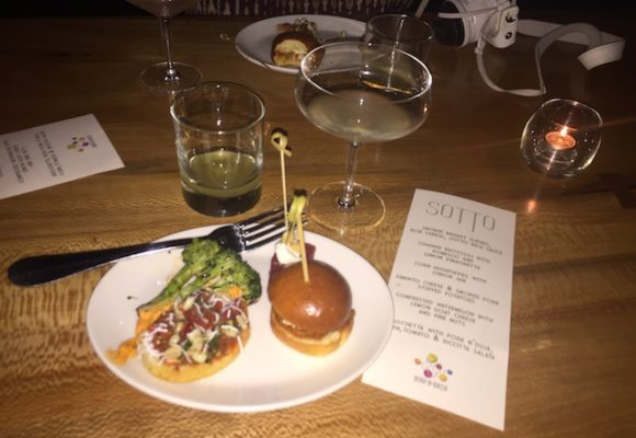 Smoked brisket slider and golden touch cocktail with Mezcal was a match made in heaven at Sotto (Photo Credit: Lisa Femia)