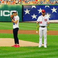 Katie Ledecky gives Olympic medals to Bryce Harper, throws out first pitch